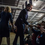 Ted Cruz greets audience members before speaking at a caucus night rally on Feb. 1, 2016, in Des Moines.