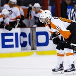 Flyers center Sam Gagner (89) skates off following a 3-0 loss at Detroit.