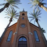 Old St. Mary's Church at the northwest corner of University Drive and College Avenue on Wednesday, June 1, 2016, in Tempe. The All Saints Catholic Newman Center, where the church is located, is going to be expanding with a new 20-story student housing tower.