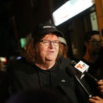 "NEW YORK, NY - OCTOBER 18: Director Michael Moore speaks to the media at the premiere of his documentary ""Michael Moore In TrumpLand"" at the IFC Center on October 18, 2016 in New York City."