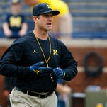 Sep 10, 2016; Ann Arbor, MI, USA; Michigan Wolverines head coach Jim Harbaugh looks on prior to the game against the UCF Knights at Michigan Stadium. Mandatory Credit: Rick Osentoski-USA TODAY Sports
