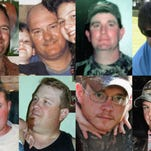 This combination of photos provided by their families shows, top row from left, Jason Anderson, Dale Burkeen, Stephen Ray Curtis and Gordon Jones; bottom row from left, Roy Wyatt Kemp, Karl Kleppinger Jr., Shane Roshto and Adam Weise. They were among the 11 victims of the April 20, 2010 BP Deepwater Horizon oil rig explosion. (Courtesy of Shelley Anderson, Burkeen Family, Curtis Family, Jones Family, Kemp Family, Hartley Family, Natalie Deason, Cindy Shelton via AP)