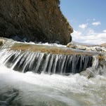 Water at Whitewater flows toward percolation ponds in Palm Springs that help refill the Coachella Valley's aquifer.