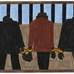 """A panel of the Great Migration series by African-American artist Jacob Lawrence titled """"During the World War there was a great migration North by Southern Negroes."""""""