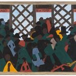 """This photo provided by the Museum of Modern Art shows a panel of The Great Migration series by African-American artist Jacob Lawrence titled """"Another of the social causes of the migrants' leaving was that at times they did not feel safe, or it was not the best thing to be found on the streets late at night."""