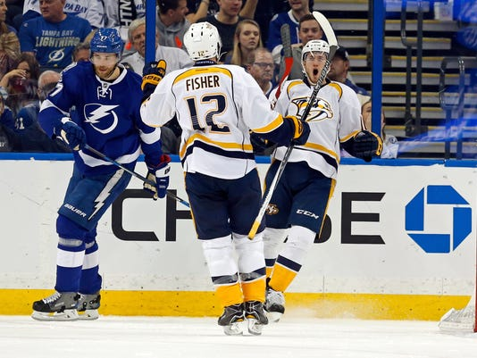 Victor Hedman, Mike Fisher, Colton Sissons