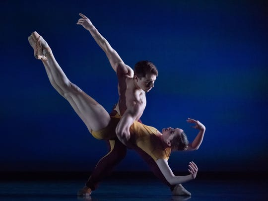 "Samantha Griffin and Michael Mengden are seen here in Cincinnati Ballet's world premiere production of ""Myoho,"" choreographed by resident choreographer Jennifer Archibald. The work is part of the company's ""Bold Moves program,"" which runs through April 29 at the Aronoff Center."
