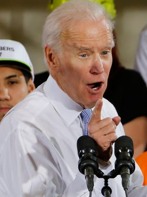 Former Vice President Joe Biden speaks Tuesday at a rally in support of Conor Lamb, the Democratic candidate for the March 13 special election in Collier, Penn.