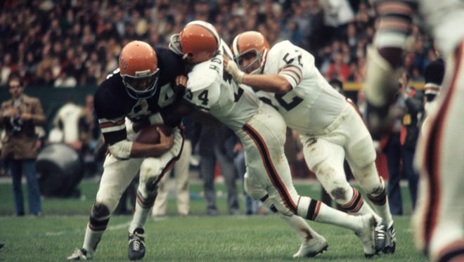 Cincinnati Bengals tight end Bob Trumpy in a 27 to 6 loss to the Cleveland Browns on October 1, 1972 at Municipal Stadium in Cleveland, Ohio.  Cincinnati Bengals - 1972 File Photos