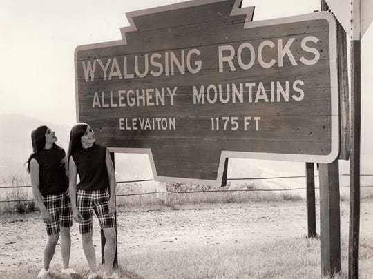 The Doty sisters pose at the Wyalusing Rocks on a publicity