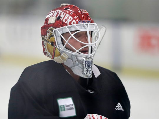 Florida Panthers goalie Sergei Bobrovsky looks on during NHL hockey practice, Wednesday, July 22, 2020, at the team's training facility in Coral Springs, Fla. (AP Photo/Wilfredo Lee)