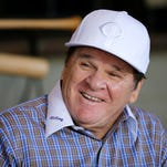 Former Cincinnati Red and MLB all-time hit leader Pete Rose, shown last year, will join the Reds Hall of Fame this weekend.