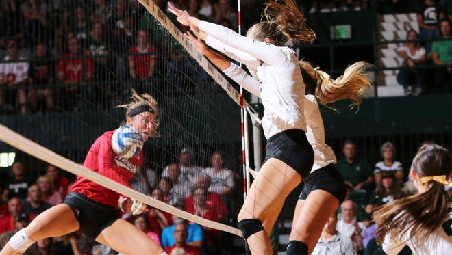 Michigan State's volleyball team fell to Nebraska in five games Saturday night, 16-14 in the fifth, after taking a 2-0 lead.