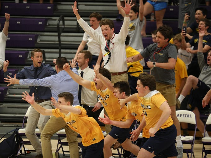 Moeller's bench reacts during the Crusaders' win over