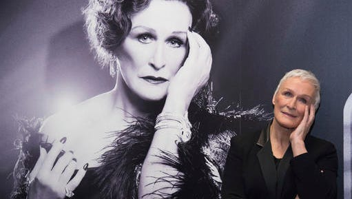 "FILE - This Jan. 25, 2017 file photo shows Glenn Close posing at a media opportunity to promote the Broadway revival of ""Sunset Boulevard"", at the Palace Theatre in New York. Close returns as the aging silent film star Norma Desmond. The English National Opera's stripped-down revival of the Andrew Lloyd Webber musical will land with a 40-piece orchestra under the direction of Lonny Price. Close won a Tony Award in 1995 as Desmond."