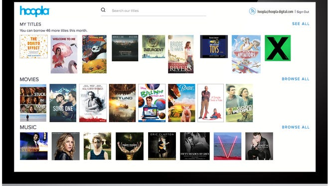 The Hoopla digital streaming service seen on an iMac.