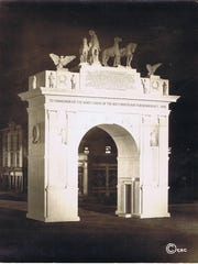 """The Montpelier & Barre Power and Light Co. placed four spotlights so """"that the arch may be shown in its beauty at night."""""""