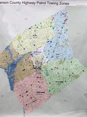 A South Carolina Highway Patrol map showing all of