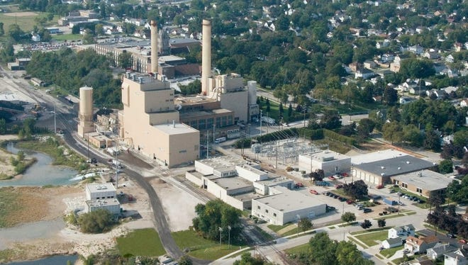 Aerial view of the Manitowoc Public Utilities plant in Manitowoc.