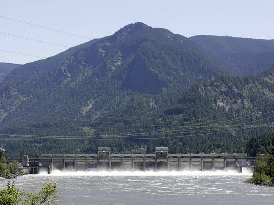 The Bonneville Dam, about 40 miles east of Portland