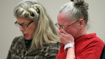 An emotional Rene Bailey  (right) listens as her attorney Adele Bernhard,  argues in front of Judge James Piampiano, before she was released to home confinement after serving 13 years in prison for a shaken baby death in 2001. Technology advances have allowed new information to be considered in such cases.