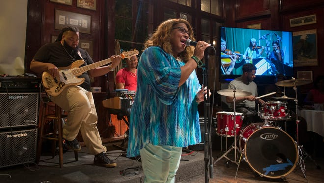 Harolyn Bettis sings along with Chris Snowden, bass; Gino Rosario, keyboard; and Rickey Duffy Jr., drums, as they perform during Tuesday Jazz at Seville Quarter in Pensacola on Tuesday, Oct. 10, 2017.