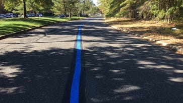 Thin blue line painted on a road leading to Edison Police Headquarters.