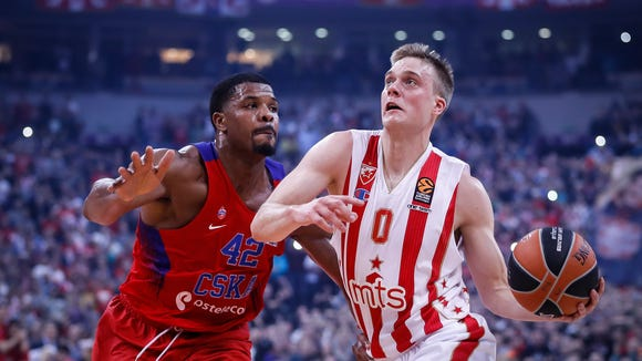 Former SDSU star Nate Wolters (0) is playing for Serbian team Red Star Belgrade in EuroLeague action this season.