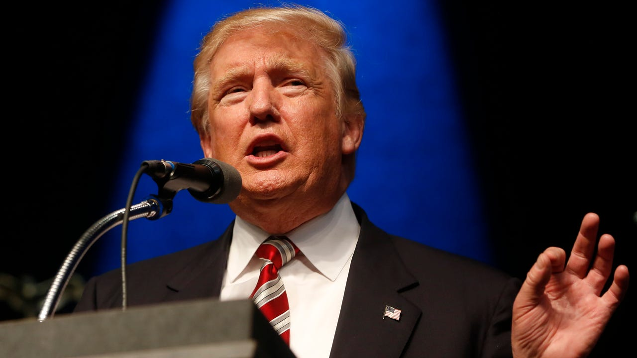 Republican presidential candidate Donald Trump speaks at a campaign event in Clive, Iowa.