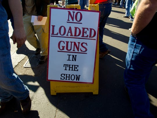 Yes, it's a gun show. No, you can't bring in a loaded gun.