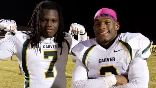 Marlon Davidson, here posing with Lyndell Wilson while at G.W. Carver, is an Auburn commit.