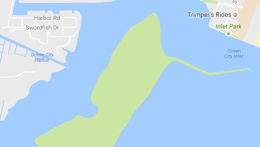 A map of Sinepuxent Bay, which separates Maryland from the barrier island Assateague Island National Seashore. A Howell boy fell off the bow of a boat in the bay, just south of the Ocean City Inlet.