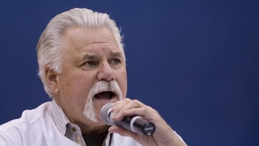 """The Mad Hungarian,"" Al Hrabosky, speaks at a recent Cardinals Caravan."