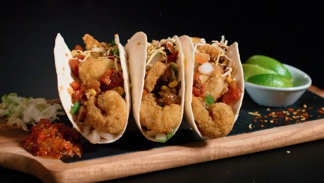 A trio of Rutter's shrimp tacos on the company's new seafood menu.