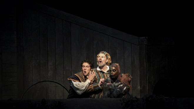 """Zachary Burrell as Trinculo, Gregory Maupin as Stephano and Dathan Hopper as Caliban in Kentucky Shakespeare """"The Tempest"""" now being performed in Central Park."""