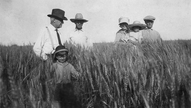 Will Pattison of Clovis (left) was an early organizer of the Curry County Farm Bureau, and also started the Curry County Fair in 1917. He is shown here with his family in a wheat field in the 1920s.