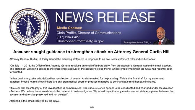 Attorney General Curtis Hill's latest news release.