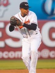 Shorebirds third baseman Jomar Reyes (20) throws to