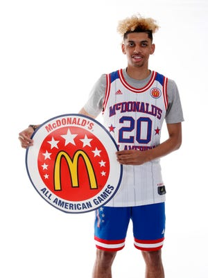 "Mar 26, 2017; Chicago, IL, USA; McDonalds High School All-American forward Brian ""Tugs"" Bowen II (20) poses for a photo during the 2017 McDonalds All American Game Portrait Day at Chicago Marriott."
