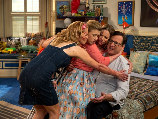 """Fuller House"" features Candace Cameron Bure (from left), Jodie Sweetin, Andrea Barber and Bob Saget."