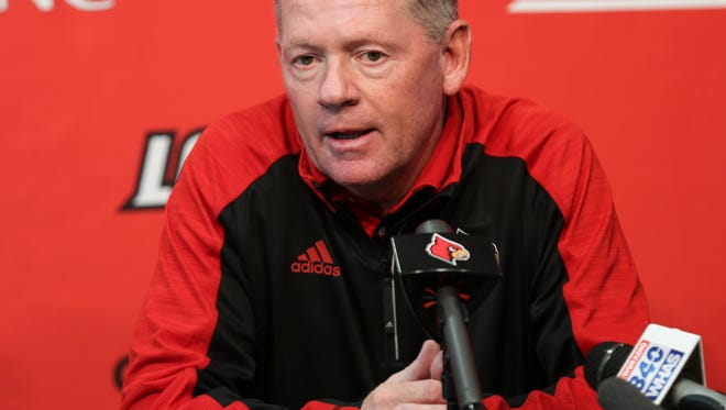 Bobby Petrino addresses the media during his weekly press conference.