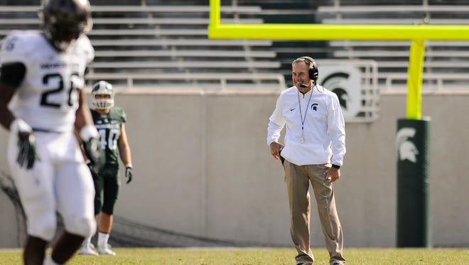 MSU Football Coach Mark Dantonio pictured April 1, 2017, during the 2017 Green & White football game at Spartan Stadium in East Lansing.