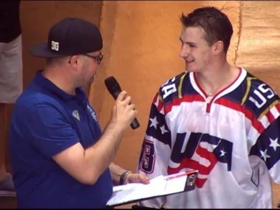 Sickerlville native Shane Fox (right) was one of 17 named to play for Team USA in the Inline Hockey World Championship this week.