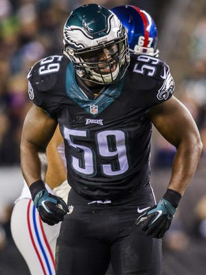 DeMeco Ryans had an interception before leaving the game in the second quarter with a hamstring injury.