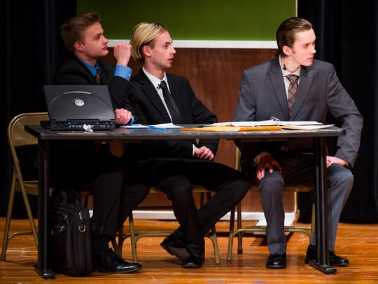 """The Defense team takes in the prosecution's questions in Simon Kenton's production of """"Witness for the Prosecution."""""""