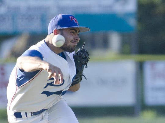 Trey Randel of Dell Rapids PBR pitches Thursday, June 1, against Madison at Rickeman Field in Dell Rapids.