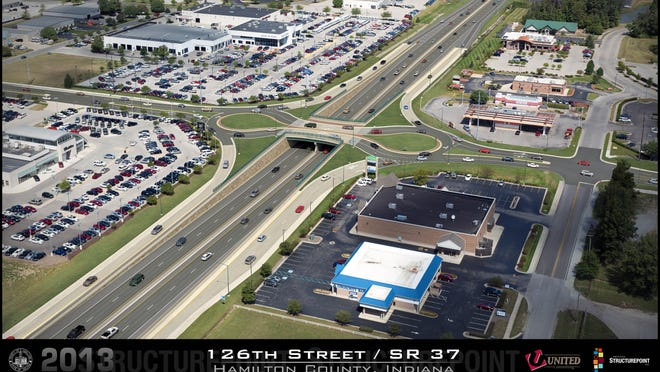 Roundabouts are proposed for 126th Street (above) and eight other intersections along Ind. 37. Each roundabout would be raised above the highway.