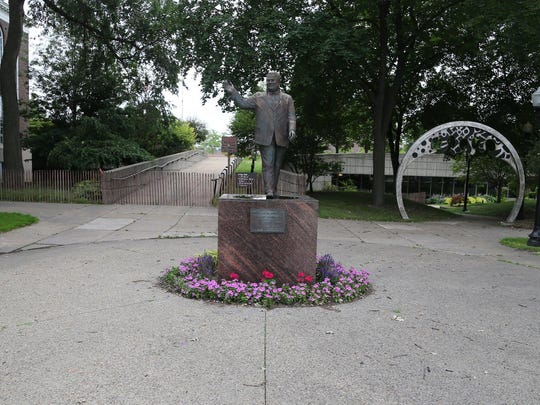 This statue of former Dearborn Mayor Orville Hubbard stands in front of Dearborn City Hall. Hubbard was a notorious segregationist.