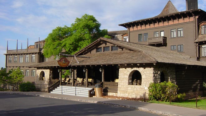 The front entrance to the El Tovar Hotel, constructed in 1905 in the South Rim historic district of the Grand Canyon National Park.