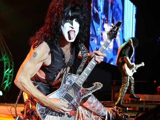 Paul Stanley of KISS performs during the opening show for the Australian leg of its 40th anniversary world tour in 2015 at Perth Arena in Perth, Australia.
